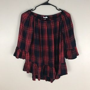 Beach lunch lounge red plaid Off Shoulder Top